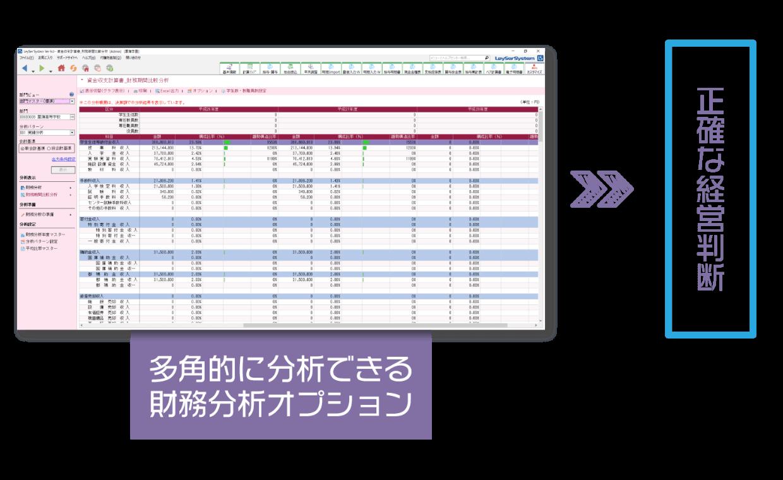 多角的な分析ができる財務分析オプション