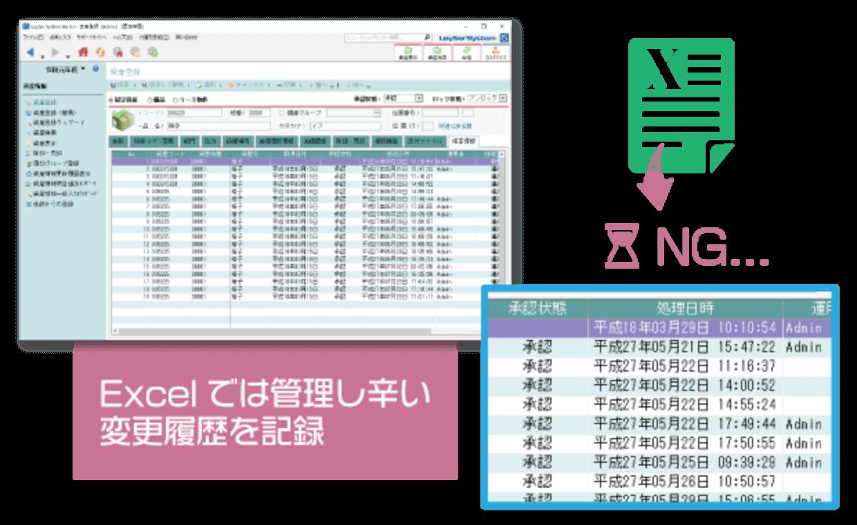 Excelでは管理しづらい変更履歴を記録
